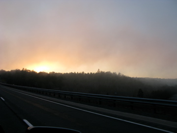 Road Fog Sunset